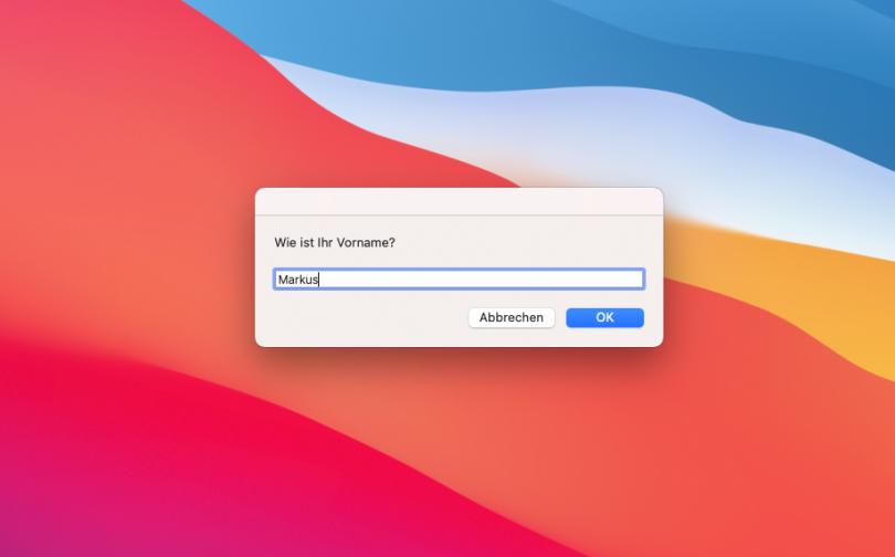 Dialog in AppleScript (Screenshot)