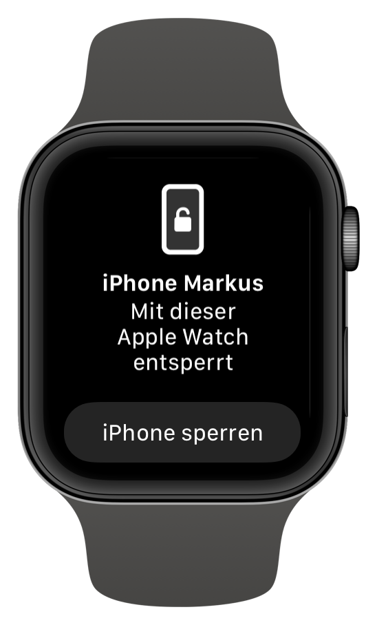 Entsperr-Information durch die Apple Watch (Screenshot)