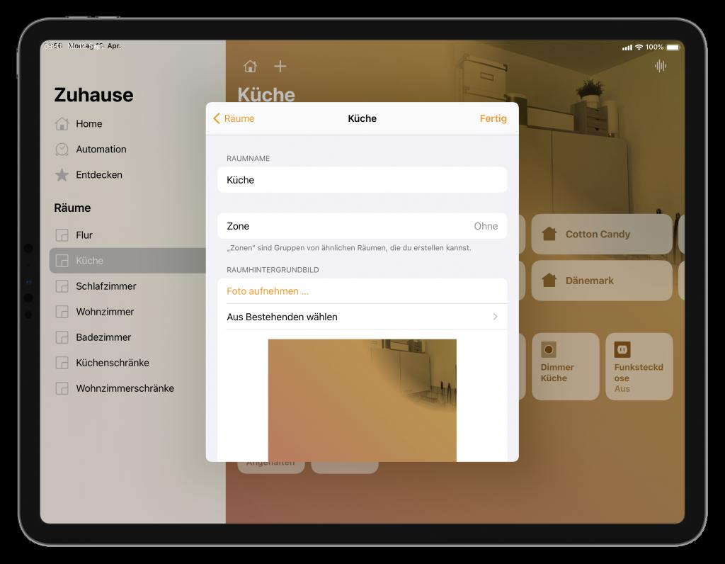 Raum-Einstellungen in der Home-App (Screenshot)