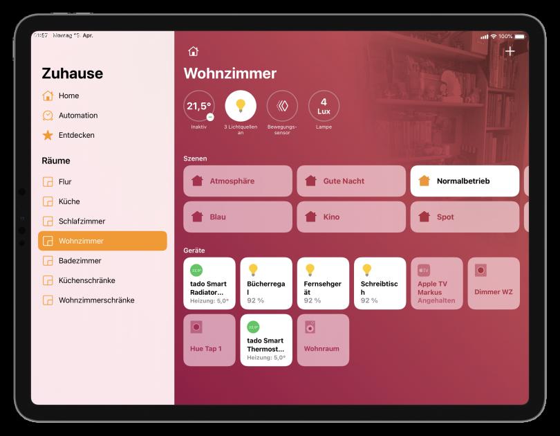 Home-App mit eigenem Hintergrundbild (Screenshot)