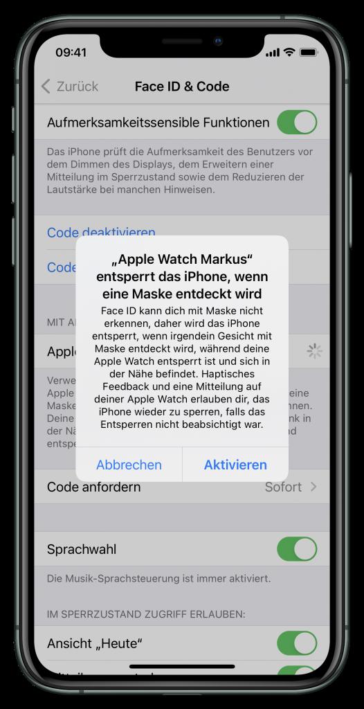 Einstellung zum Entsperren des iPhones mit der Apple Watch (Screenshot)