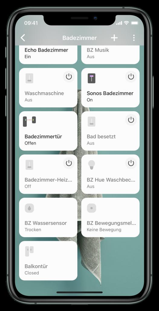 Einzelraumansicht in der SmartThings-App (Screenshot)