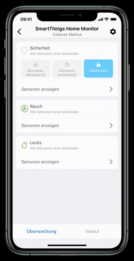 SmartThings Home-Monitor (Screenshot)