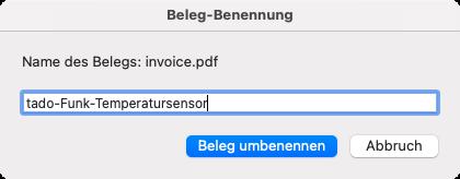 Dialog zum Umbenennen des Belegs (Screenshot)