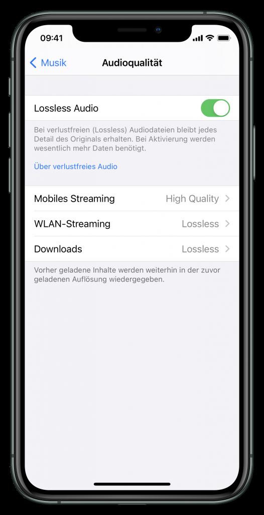 Audioqualitätseinstellungen (Screenshot)