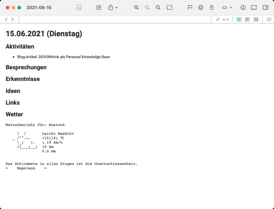 Beispiel für eine tägliche Notiz (Screenshot)