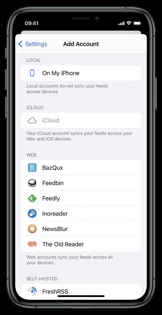 Account-Einstellungen/Sync-Möglichkeiten (Screenshot)