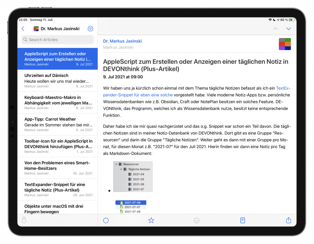 NetNewsWire auf dem iPad (Screenshot)