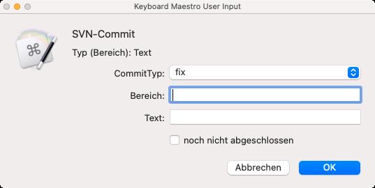 Fill-In-Snippet in Keyboard Maestro (Screenshot)