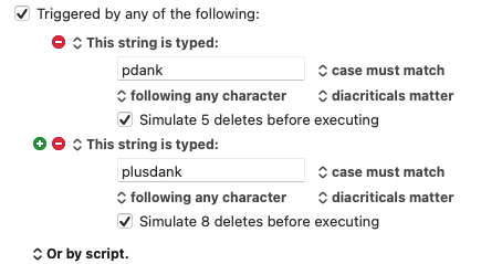 Zwei Trigger für eine Aktion, in Keyboard Maestro kein Problem (Screenshot)