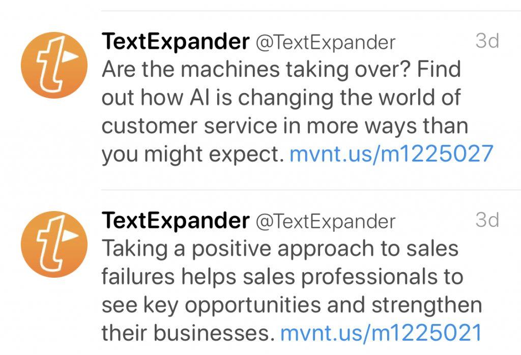 Tweets von @textexpander (Screenshot)