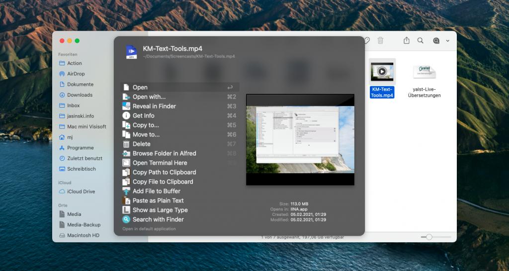 Universal Actions für eine Datei (Screenshot)