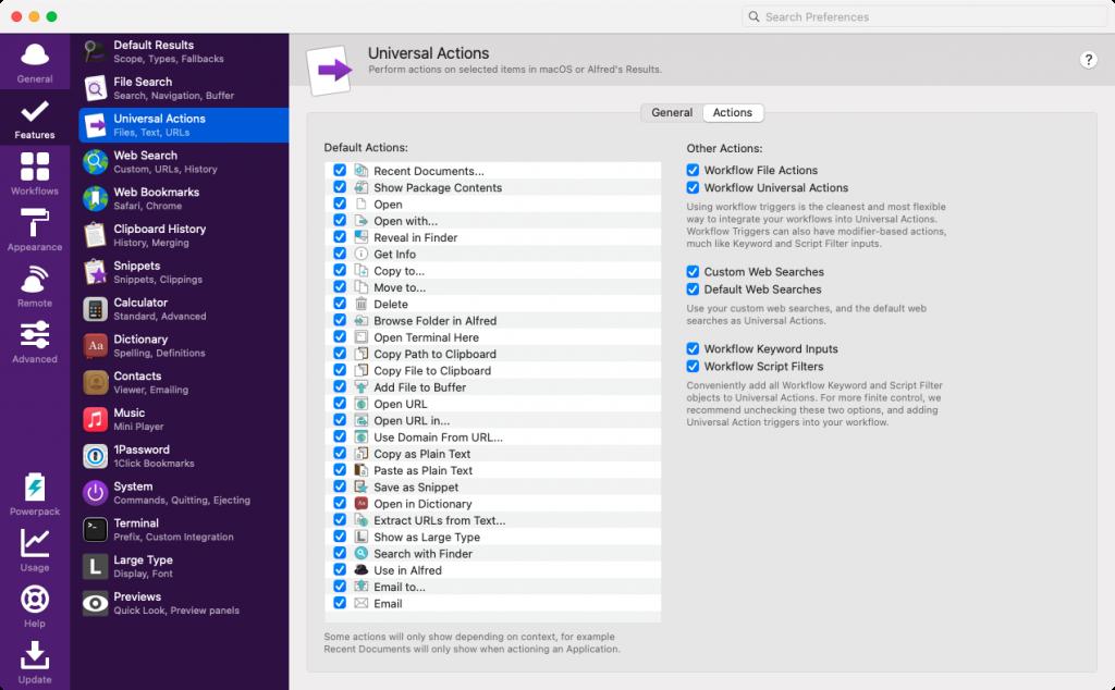 Universial Actions in Alfred konfigurieren (Screenshot)