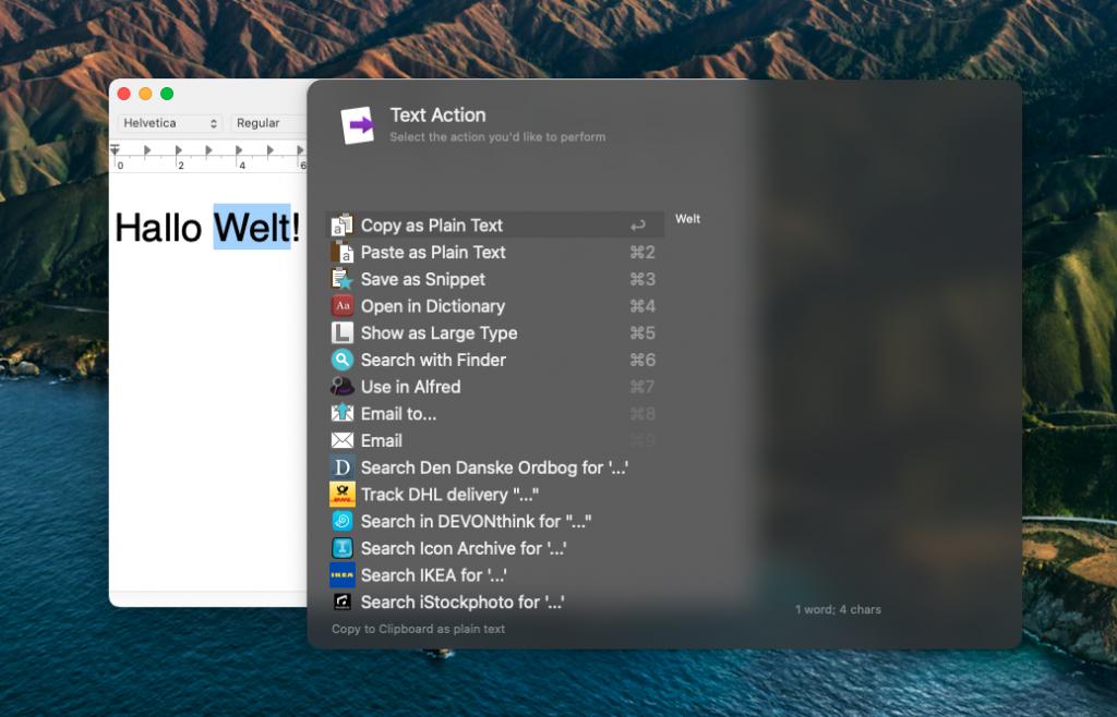 Universal Actions für einen Text (Screenshot)