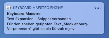 Mitteilung über ein passendes Snippet (Screenshot)