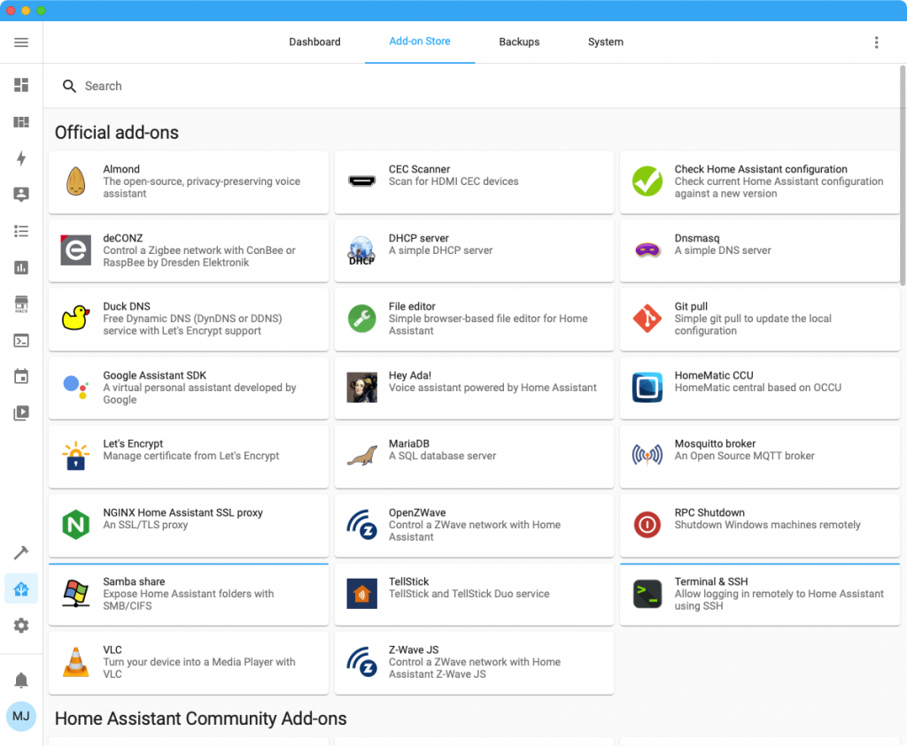 Add-On Store in Home Assistant (Screenshot)